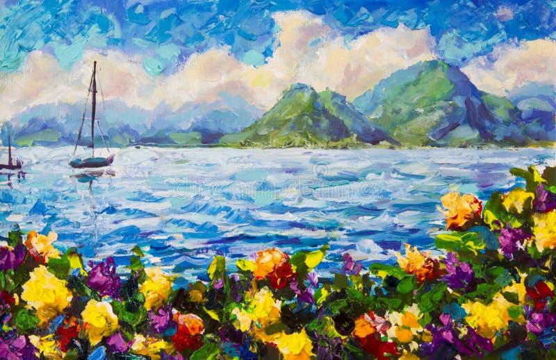 Θερμό θερινό seascape ζωγραφικής Μια βάρκα στον μπλε ωκεανό Όμορφα πράσινα βουνά και χνουδωτά κίτρινα σύννεφα στο υπόβαθρο ora στοκ φωτογραφία με δικαίωμα ελεύθερης χρήσης