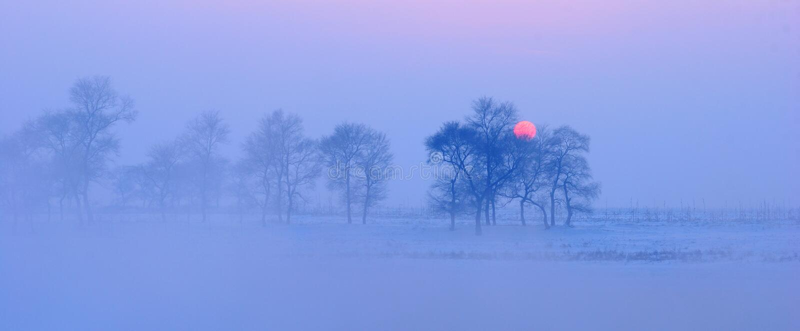 Θερμό κρύο χειμερινό ηλιοβασίλεμα στοκ φωτογραφία με δικαίωμα ελεύθερης χρήσης