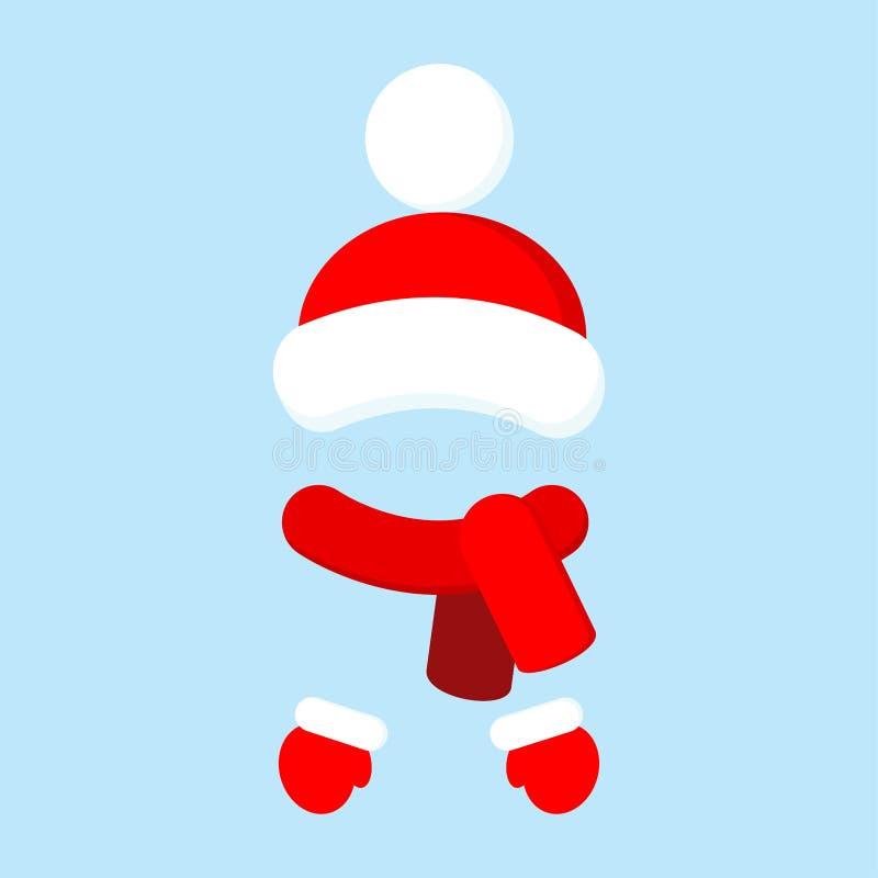 Θερμό πλεκτό καπέλο κόκκινου χρώματος με το pompom και το μαντίλι με τα γάντια, παραδοσιακό χειμερινό σύνολο, θερμά ενδύματα διανυσματική απεικόνιση