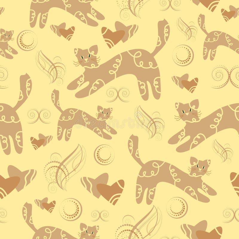 Θερμό handdrawn σχέδιο επιφάνειας ελεφαντόδοντου άνευ ραφής με τις γάτες, καρδιές, διακοσμητικά στοιχεία Μαλακό ρομαντικό σχέδιο  απεικόνιση αποθεμάτων