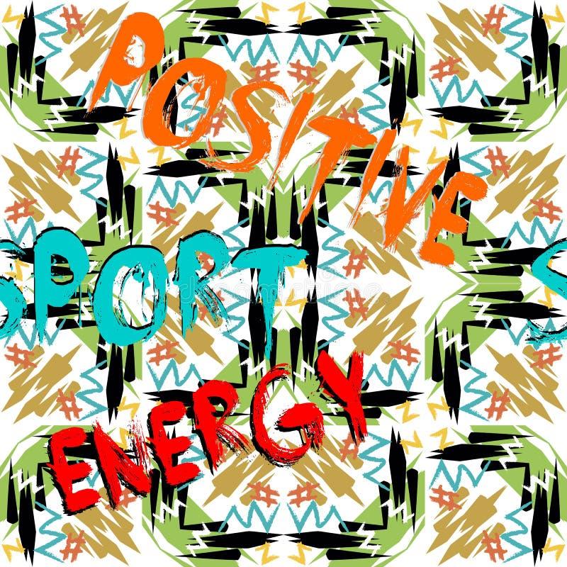Θετική ενέργεια αθλητισμός Αφηρημένο σχέδιο κειμένων grunge άνευ ραφής Διανυσματική διακόσμηση μπλουζών Ζωηρόχρωμο διαμορφωμένο φ διανυσματική απεικόνιση