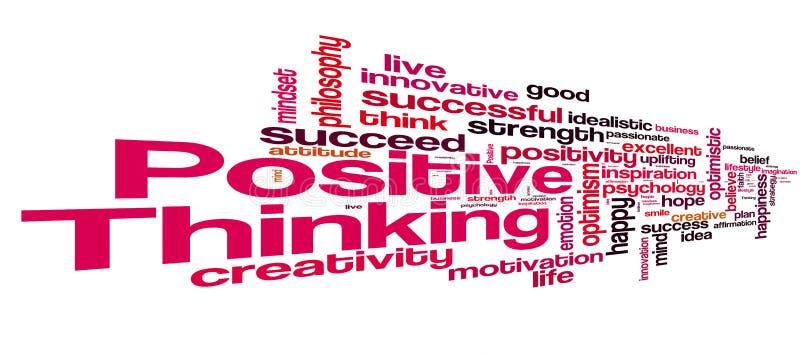 Θετικό σύννεφο λέξης σκέψης απεικόνιση αποθεμάτων