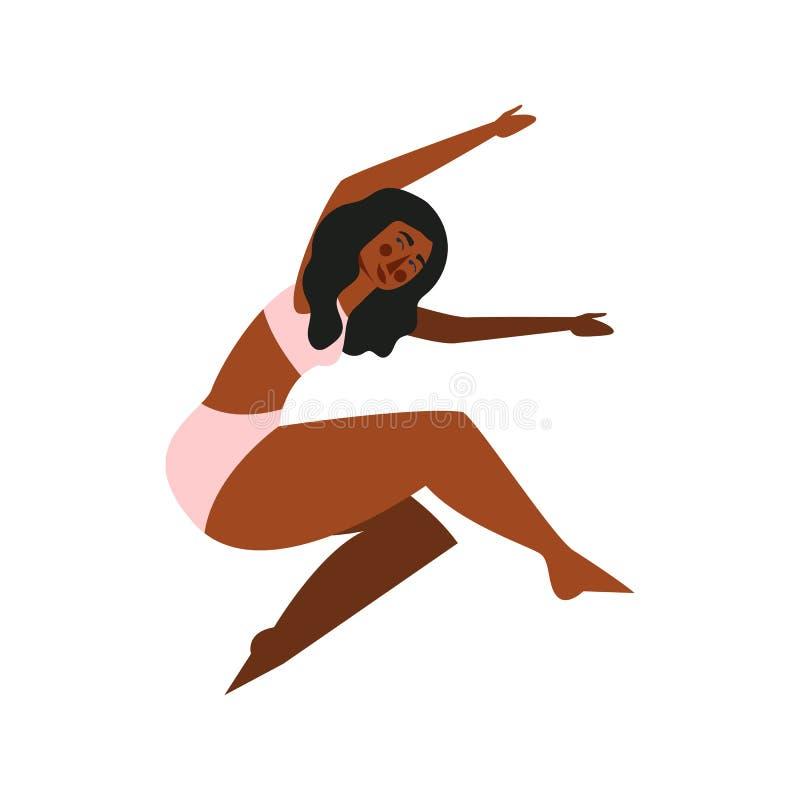 Θετικό σώματος Αρκετά συν τη γυναίκα μεγέθους που απομονώνεται στο άσπρο backgroung r ελεύθερη απεικόνιση δικαιώματος