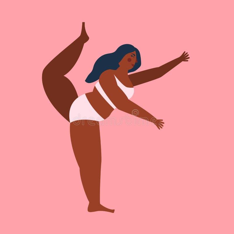 Θετικό σώματος Αρκετά συν τη γυναίκα μεγέθους στο ρόδινο backgroung r ελεύθερη απεικόνιση δικαιώματος