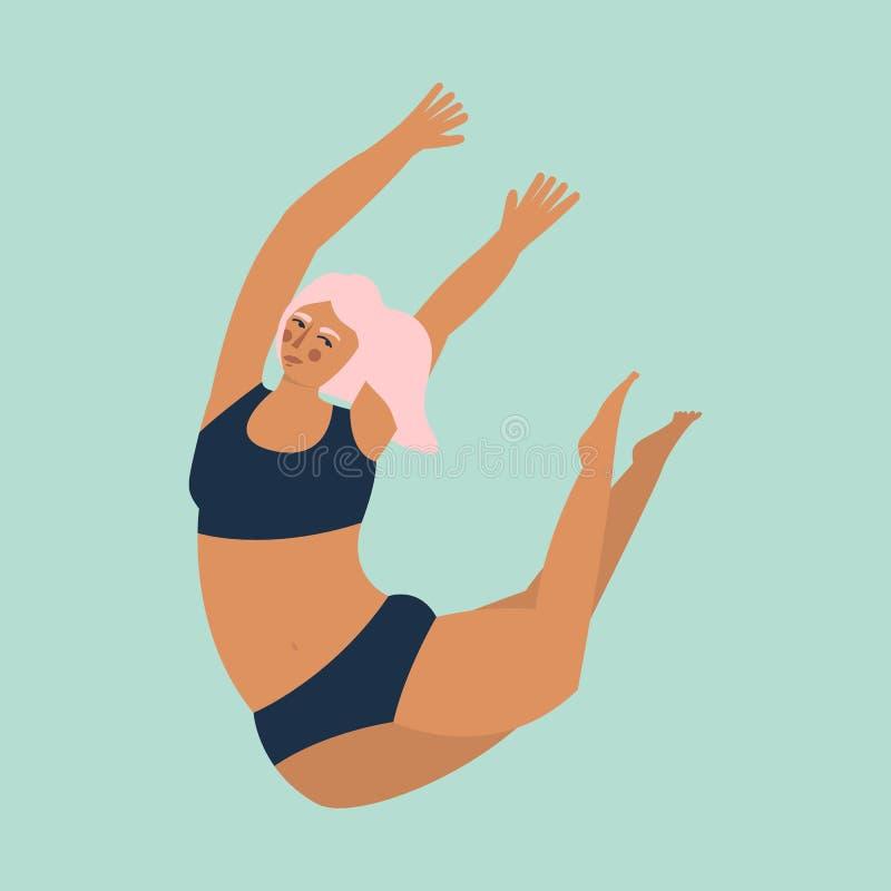 Θετικό σώματος Αρκετά συν τη γυναίκα μεγέθους στο τυρκουάζ backgroung r διανυσματική απεικόνιση