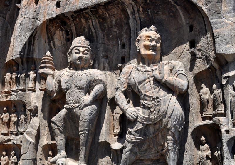 Θεϊκοί βασιλιάς και Herakles σε Longmen Grottoes στοκ φωτογραφία με δικαίωμα ελεύθερης χρήσης