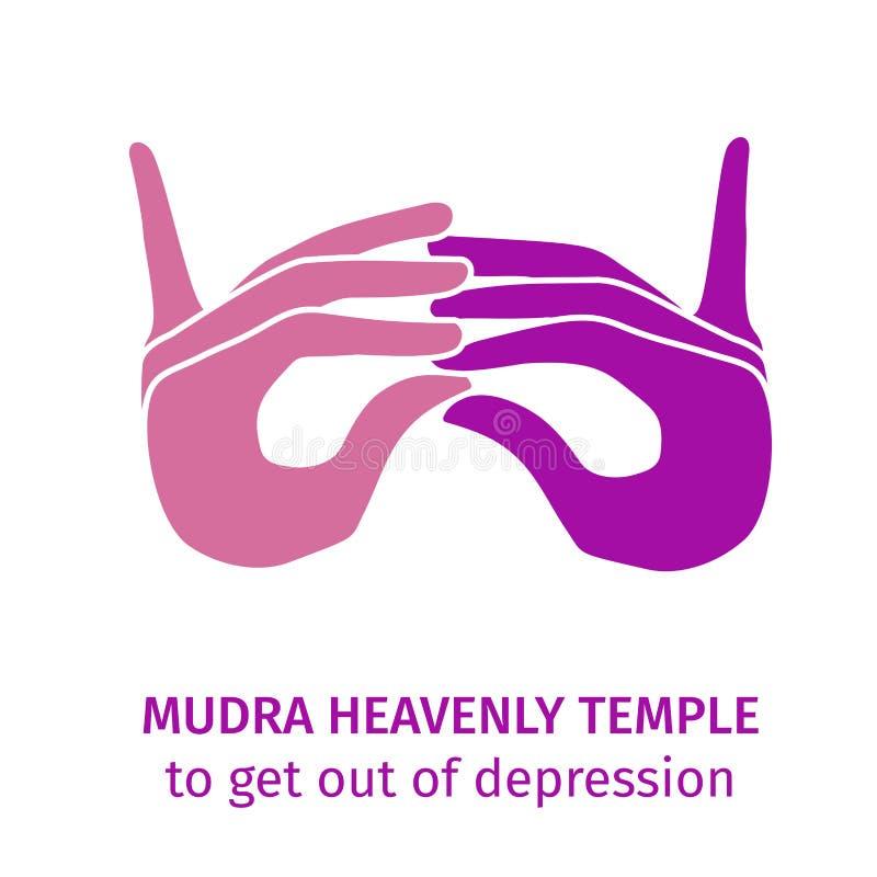Θεϊκός ναός Mudra που παίρνει από την κατάθλιψη διανυσματική απεικόνιση