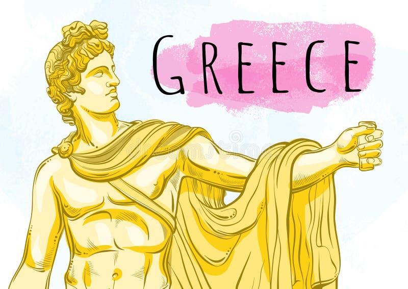 Θεός Apollon Ο μυθολογικός ήρωας της αρχαίας Ελλάδας Εθνικός θησαυρός αντίθεσης Hand-drawn όμορφο διανυσματικό έργο τέχνης που απ απεικόνιση αποθεμάτων