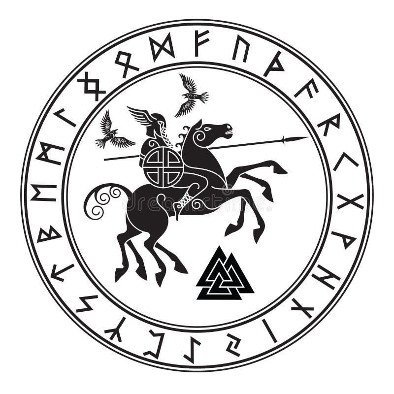 Θεός Wotan, που οδηγά σε άλογο Sleipnir με μια λόγχη και δύο κοράκια σε έναν κύκλο των ρούνων Νορβηγών Απεικόνιση των Νορβηγών ελεύθερη απεικόνιση δικαιώματος