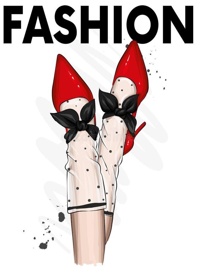 Θηλυκά πόδια στα μοντέρνα παπούτσια με τα τακούνια και τις κάλτσες δαντελλών Μόδα και ύφος, ιματισμός και εξαρτήματα υποδήματα επ ελεύθερη απεικόνιση δικαιώματος