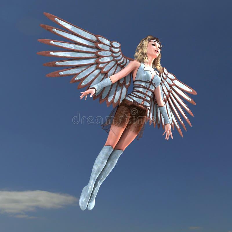 θηλυκά τεράστια φτερά φαν&tau διανυσματική απεικόνιση