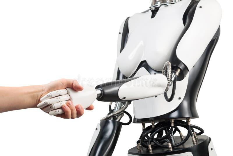 Θηλυκά χέρια εκμετάλλευσης ρομπότ και ατόμων με τη χειραψία που απομονώνεται στο wh στοκ εικόνες