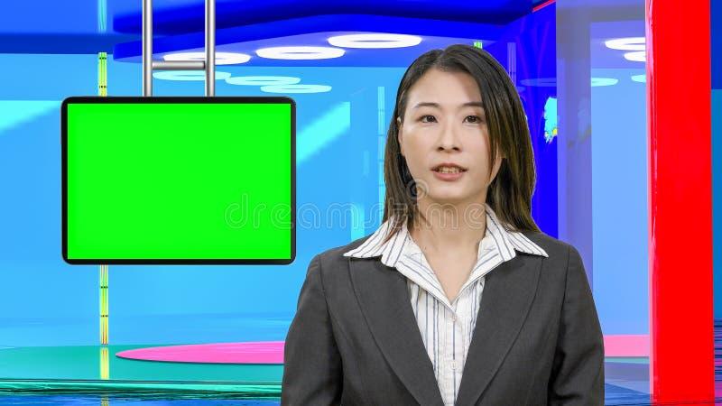 Θηλυκές ασιατικές ειδήσεις anchorwoman στο εικονικό στούντιο TV, αρχικά στοιχεία σχεδίου στοκ εικόνα με δικαίωμα ελεύθερης χρήσης