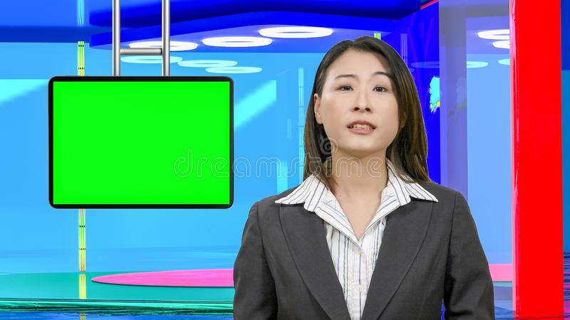 Θηλυκές ασιατικές ειδήσεις anchorwoman στο εικονικό στούντιο TV, αρχικά στοιχεία σχεδίου στοκ εικόνες με δικαίωμα ελεύθερης χρήσης