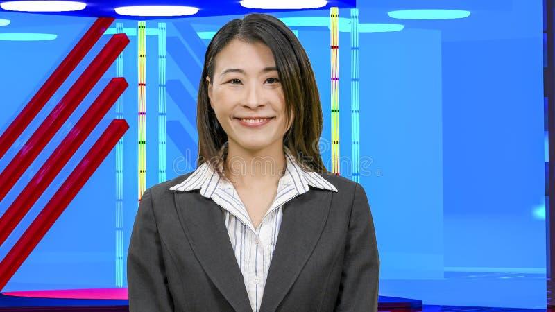 Θηλυκές ασιατικές ειδήσεις anchorwoman στο εικονικό στούντιο TV, αρχικά στοιχεία σχεδίου στοκ εικόνες