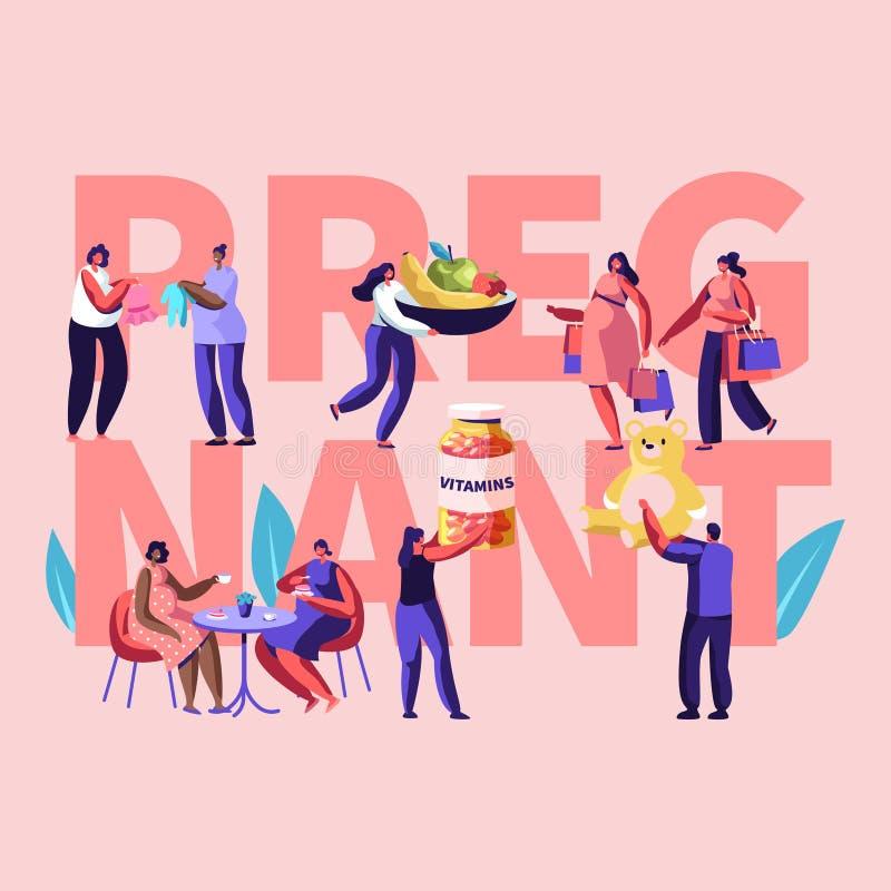 Θηλυκή έννοια εγκυμοσύνης χαρακτήρων ευτυχής Οι άνθρωποι κρατούν τις βιταμίνες, παιχνίδια μωρών, υγιής διατροφή, οι έγκυοι γυναίκ ελεύθερη απεικόνιση δικαιώματος