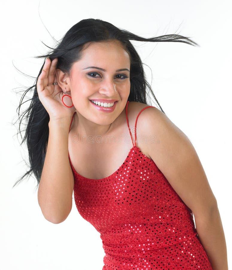 θηλυκή ακρόαση έκφρασης σ στοκ φωτογραφία