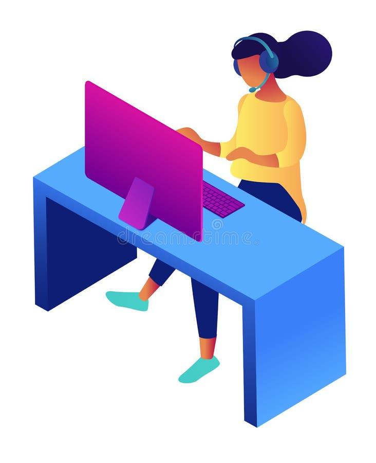 Θηλυκή αντιπροσωπευτική isometric τρισδιάστατη απεικόνιση εξυπηρέτησης πελατών διανυσματική απεικόνιση