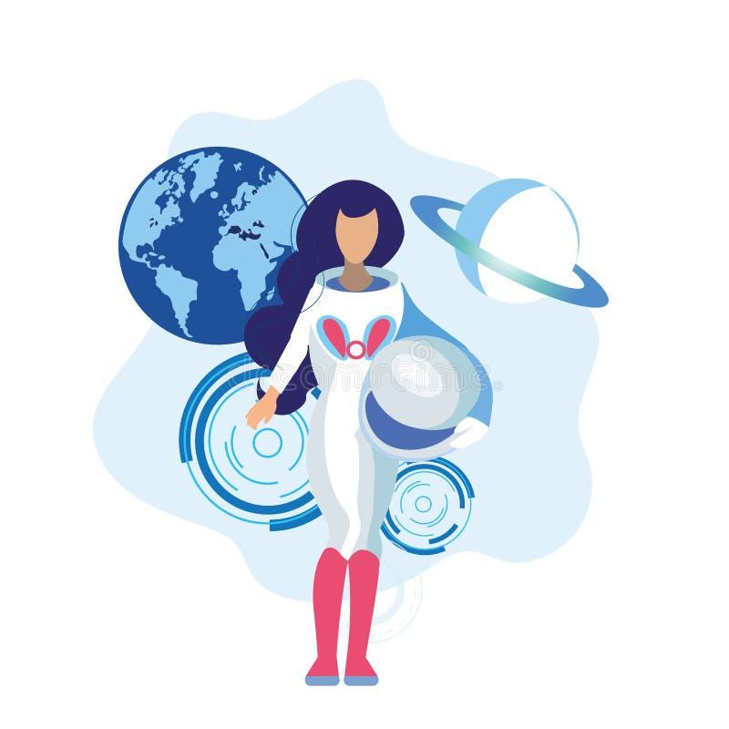 Θηλυκή επίπεδη απεικόνιση κρανών εκμετάλλευσης αστροναυτών ελεύθερη απεικόνιση δικαιώματος