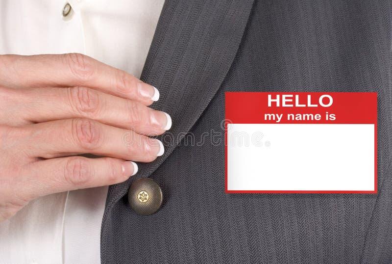 θηλυκή ετικέττα ονόματος στοκ φωτογραφίες
