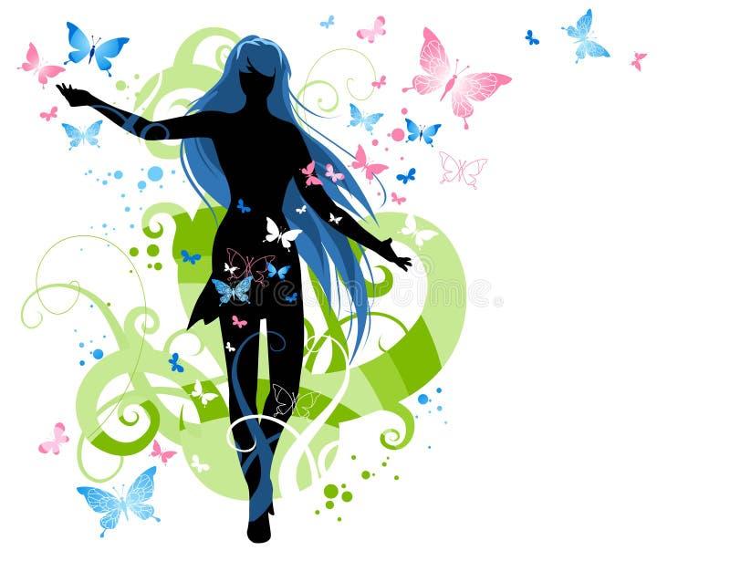 θηλυκή σκιαγραφία πεταλούδων διανυσματική απεικόνιση