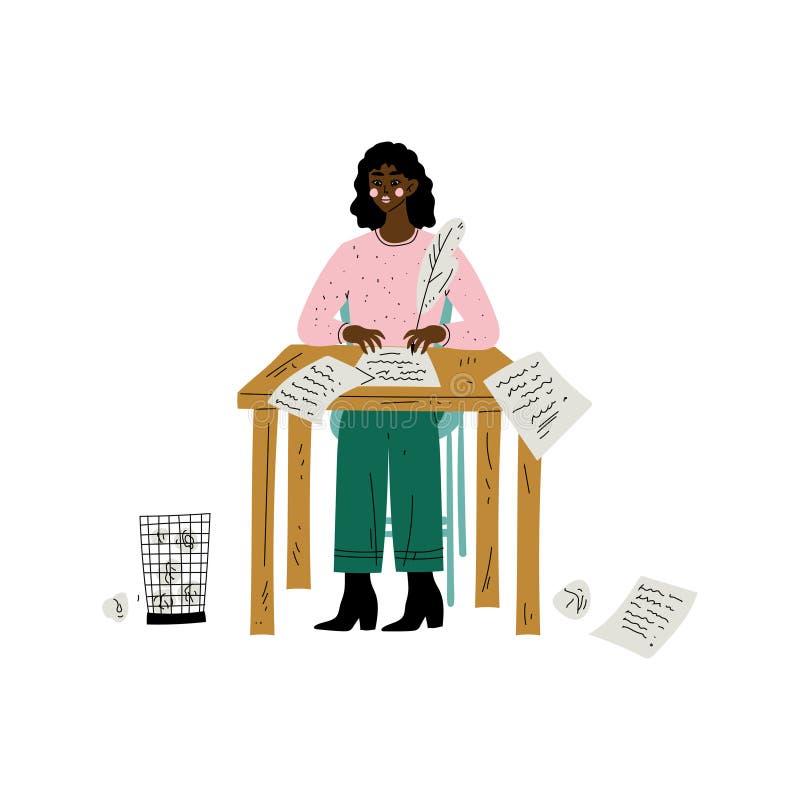 Θηλυκή συνεδρίαση συγγραφέων αφροαμερικάνων ή χαρακτήρα Poetess στο γραφείο και γράψιμο με τη διανυσματική απεικόνιση στυλό φτερώ ελεύθερη απεικόνιση δικαιώματος