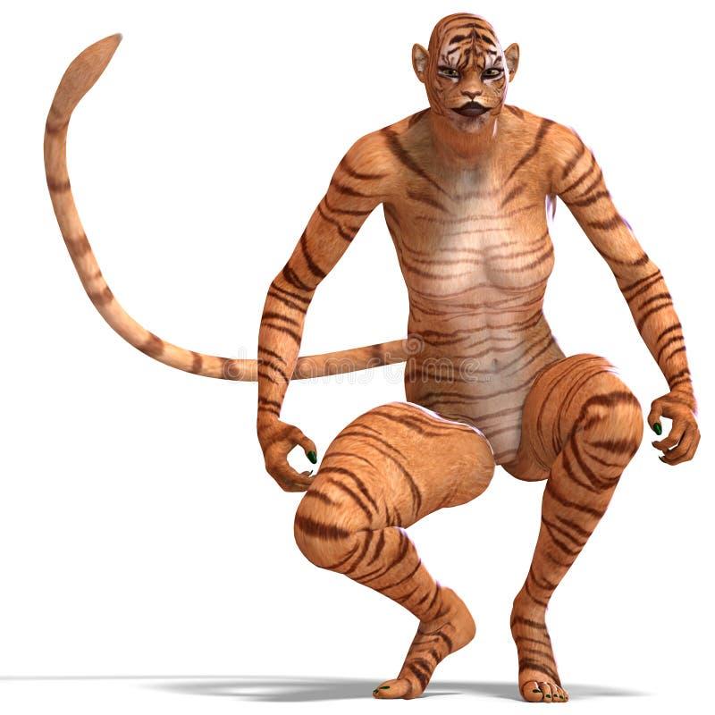 θηλυκή τίγρη αριθμού φαντα ελεύθερη απεικόνιση δικαιώματος