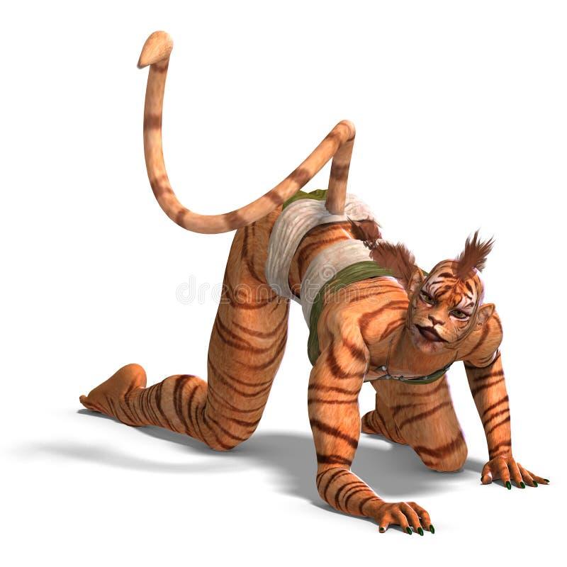 θηλυκή τίγρη αριθμού φαντα διανυσματική απεικόνιση