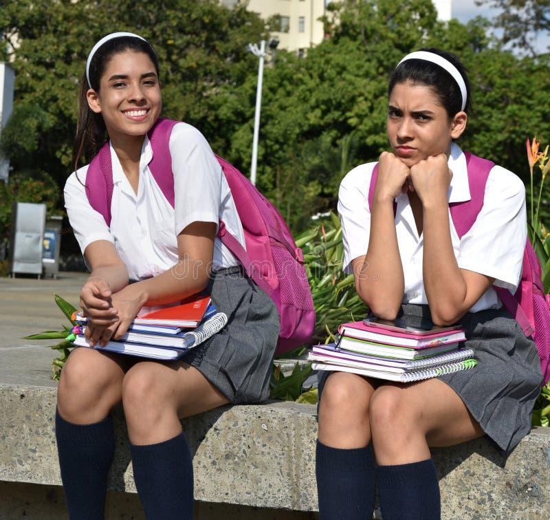 Θηλυκή τοποθέτηση σπουδαστών εφήβων βελονιών ως ευτυχείς και λυπημένες δίδυμες αδελφές jpg στοκ φωτογραφία