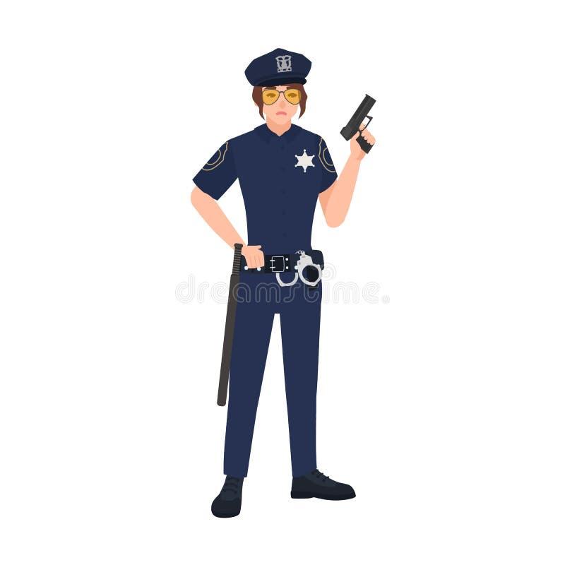 Θηλυκή φθορά αστυνομικών ομοιόμορφη, ΚΑΠ και γυαλιά ηλίου και κράτημα του πυροβόλου όπλου Σπόλα ή αστυνομικίνα γυναικών ανασκόπησ ελεύθερη απεικόνιση δικαιώματος
