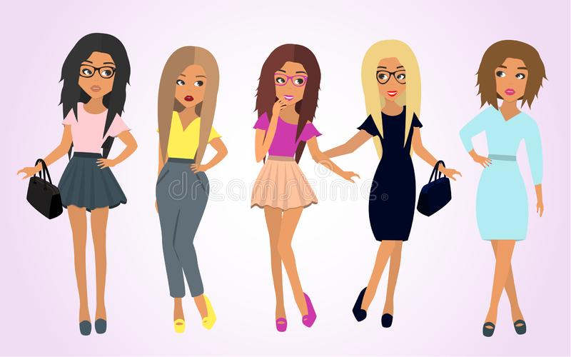 Θηλυκή φιλία Ομάδα φίλων γυναικών Διανυσματική απεικόνιση σε ένα επίπεδο ύφος απεικόνιση αποθεμάτων