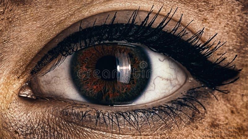 Θηλυκή φλογερή κινηματογράφηση σε πρώτο πλάνο ματιών με το γοτθικό makeup όμορφο μάτι στοκ εικόνες