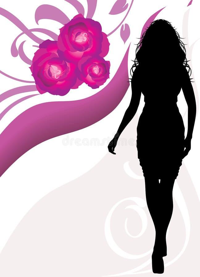 θηλυκή floral σκιαγραφία ανασ διανυσματική απεικόνιση