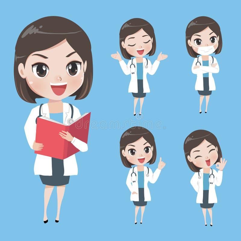 Θηλυκοί γιατροί στις διάφορες χειρονομίες σε ομοιόμορφο διανυσματική απεικόνιση