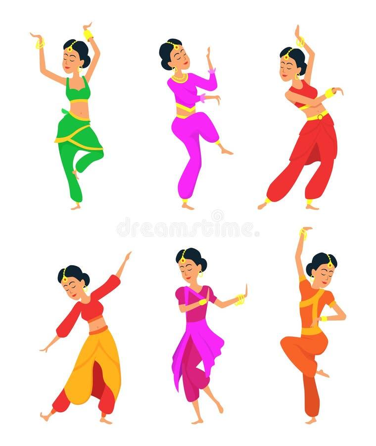 Θηλυκοί ινδικοί χορευτές ζωηρόχρωμη γραφική απεικόνιση παιδιών χαρακτηρών κινουμένων σχεδίων απεικόνιση αποθεμάτων