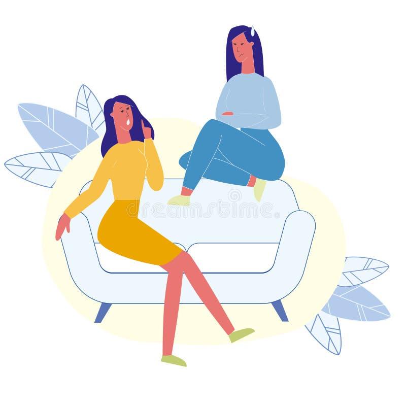 Θηλυκοί καλύτεροι φίλοι που μιλούν την επίπεδη απεικόνιση ελεύθερη απεικόνιση δικαιώματος