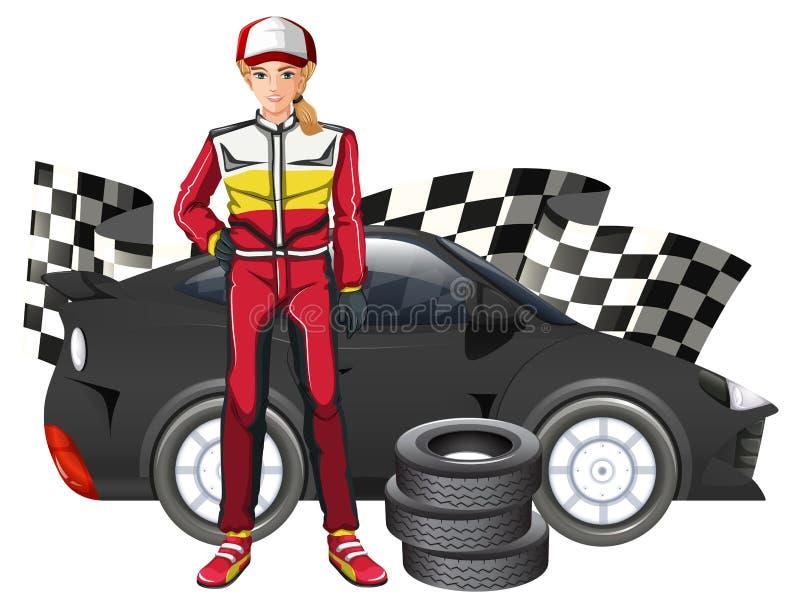 Θηλυκοί οδηγός και αυτοκίνητο Formula 1 διανυσματική απεικόνιση