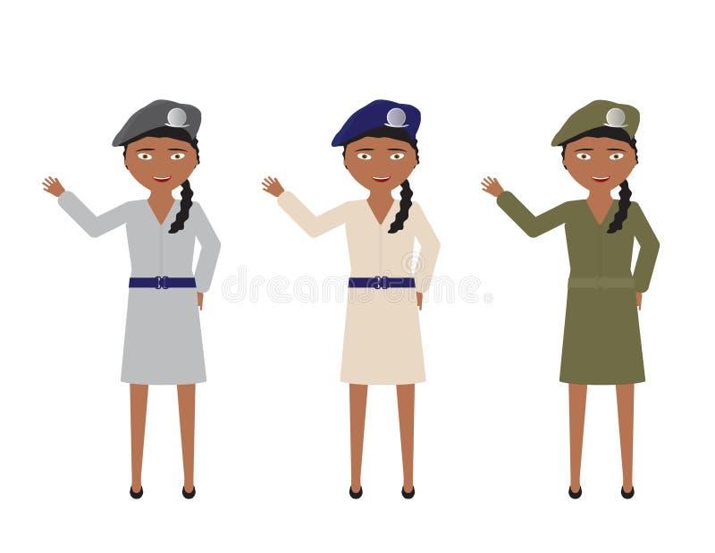 Θηλυκοί στρατιώτες στα διάφορα ομοιόμορφα χρώματα φουστών που κυματίζουν γειά σου διανυσματική απεικόνιση