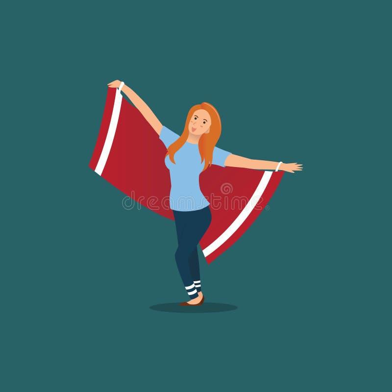 θηλυκοί υποστηρικτές με τις κόκκινες σημαίες απεικόνιση αποθεμάτων