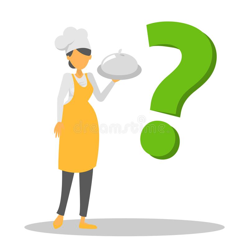 Θηλυκοί χαρακτήρας και ερωτηματικό αρχιμαγείρων Baker διανυσματική απεικόνιση