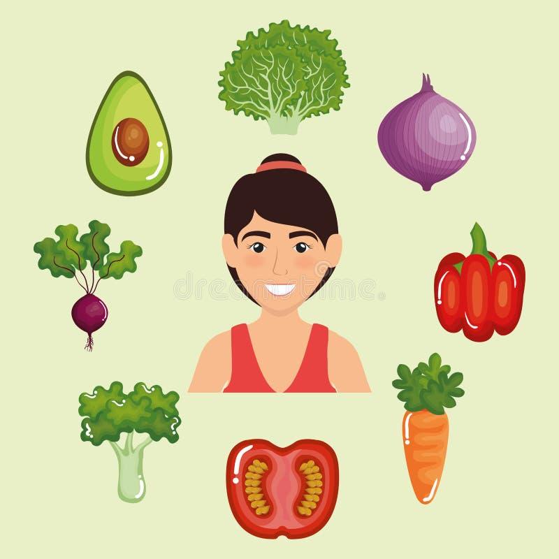 Θηλυκός αθλητής με τα υγιή τρόφιμα διανυσματική απεικόνιση