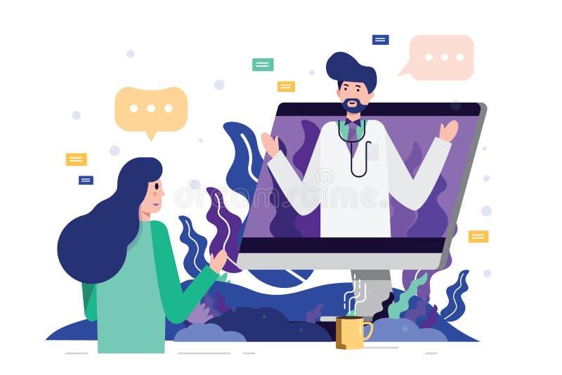 Θηλυκός ασθενής που συναντά έναν επαγγελματικό γιατρό on-line σε έναν υπολογιστή γραφείου υπολογιστών διανυσματική απεικόνιση
