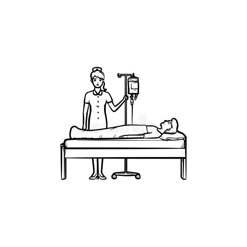 Θηλυκός γιατρός με το αντίθετο συρμένο χέρι εικονίδιο περιλήψεων πτώσης doodle απεικόνιση αποθεμάτων