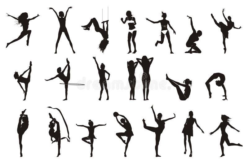 θηλυκός γυμναστικός σχεδίων θέτει απεικόνιση αποθεμάτων