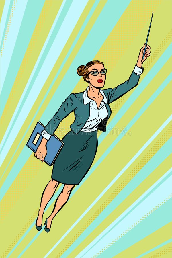 Θηλυκός δάσκαλος, πέταγμα superhero απεικόνιση αποθεμάτων