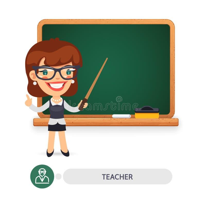 Θηλυκός δάσκαλος στο σχολικό πίνακα ελεύθερη απεικόνιση δικαιώματος