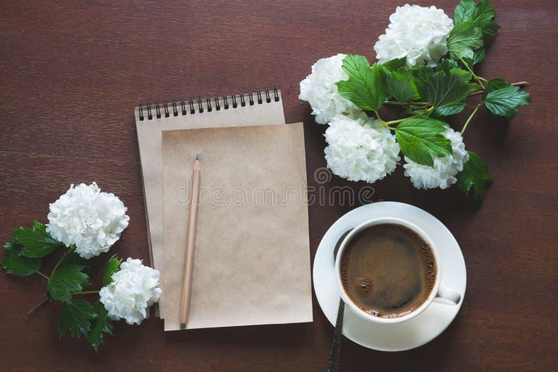 Θηλυκός εργασιακός χώρος blogger, δημοσιογράφος ή καλλιτέχνης για την έμπνευση με τα λουλούδια του viburnum και ενός sketchbook κ στοκ φωτογραφίες με δικαίωμα ελεύθερης χρήσης