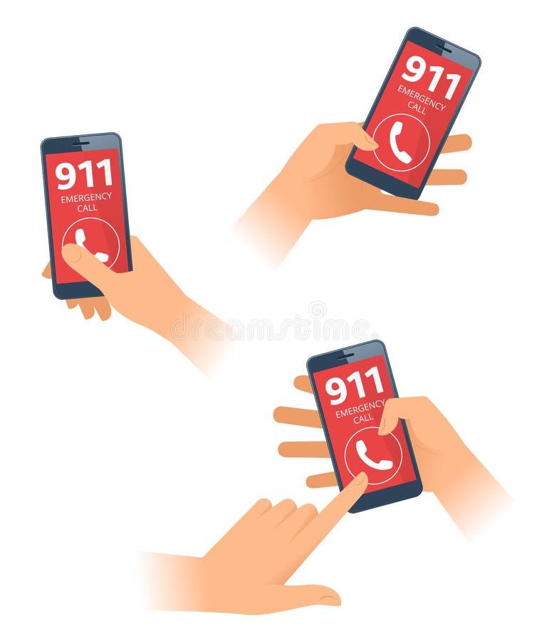 Θηλυκός και αρσενικός πίνακας χεριών 911 αριθμός στο smartphone Επίπεδη διανυσματική απεικόνιση διανυσματική απεικόνιση