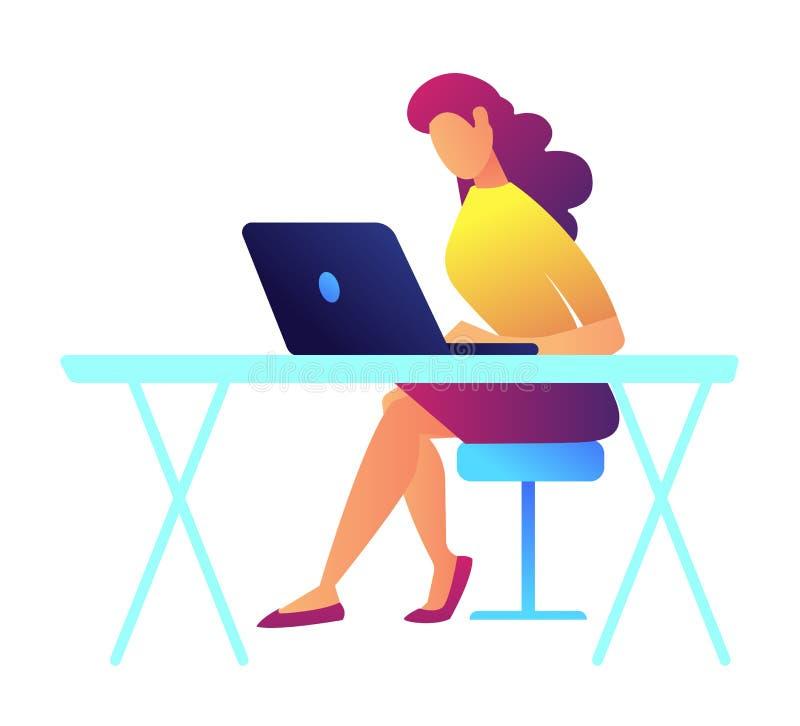 Θηλυκός προγραμματιστής που εργάζεται στη διανυσματική απεικόνιση lap-top διανυσματική απεικόνιση