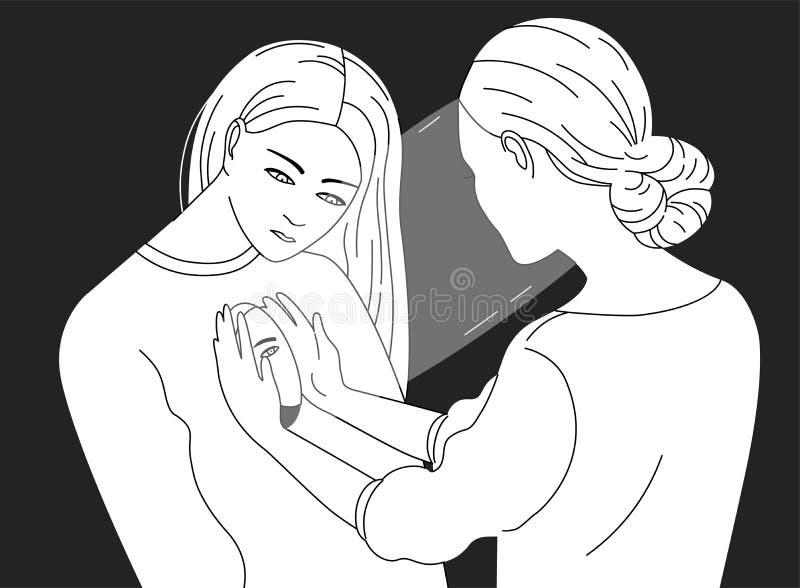 Θηλυκός χαρακτήρας που κοιτάζει μέσα σε μια άλλη γυναίκα Έννοια της ψυχοθεραπείας, ψυχανάλυση, psychotherapeutic εργασία απεικόνιση αποθεμάτων